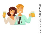 man and woman with glasses of... | Shutterstock .eps vector #587557349