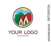 village landscape  farmstead... | Shutterstock .eps vector #587559224