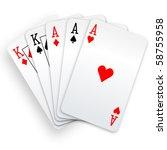 a poker hand full house three... | Shutterstock .eps vector #58755958