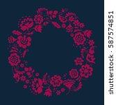 simple floral decorative wreath ... | Shutterstock .eps vector #587574851