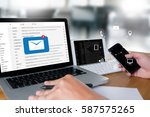 mail communication connection... | Shutterstock . vector #587575265