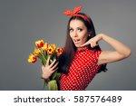 surprised girl in retro red...   Shutterstock . vector #587576489