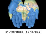 map painted on hands showing... | Shutterstock . vector #58757881