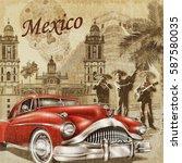 mexico retro poster. | Shutterstock . vector #587580035
