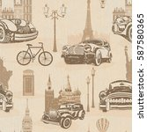 seamless vintage travel... | Shutterstock . vector #587580365