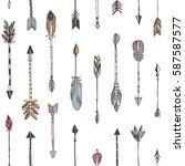 hand drawn tribal arrows... | Shutterstock .eps vector #587587577