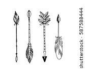decorative tribal arrows... | Shutterstock .eps vector #587588444