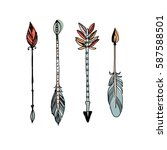 decorative tribal arrows... | Shutterstock .eps vector #587588501