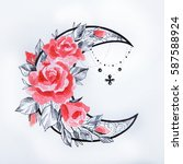 sketch of the moon with flowers ... | Shutterstock . vector #587588924