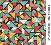 hand drawn tangram seamless...   Shutterstock .eps vector #587593865