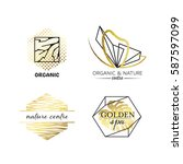 spa and beauty labels with... | Shutterstock .eps vector #587597099