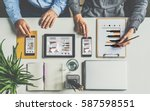top view.one on one meeting... | Shutterstock . vector #587598551