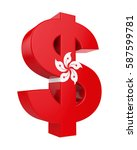 Dollar Sign With Flag Of Hong...