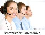 call center operators. focus at ... | Shutterstock . vector #587600075