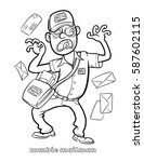 funny zombie mailman coloring... | Shutterstock .eps vector #587602115