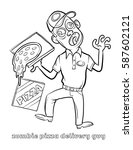 funny zombie pizza delivery guy ... | Shutterstock .eps vector #587602121
