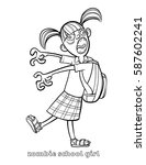 funny zombie coloring page... | Shutterstock .eps vector #587602241