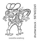 funny zombie cowboy coloring... | Shutterstock .eps vector #587602265