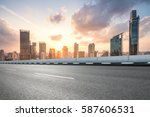 city road with cityscape and... | Shutterstock . vector #587606531