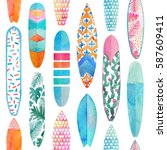 watercolor surfboard seamless... | Shutterstock . vector #587609411