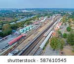 Aerial View Of Goods Train And...