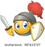 knight emoticon holding a sword ... | Shutterstock .eps vector #587613737