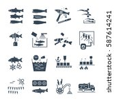 set of black icons processing...   Shutterstock .eps vector #587614241