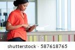 attractive businesswoman...   Shutterstock . vector #587618765