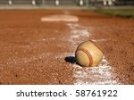 baseball on the chalk line of... | Shutterstock . vector #58761922