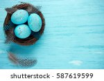 Easter Eggs In Nest   Turquois...