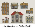handdrawn buildings set in a... | Shutterstock .eps vector #587619641