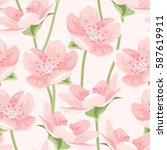 seamless pattern of blooming... | Shutterstock .eps vector #587619911