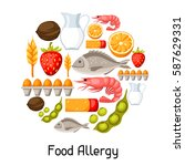 food allergy background with... | Shutterstock .eps vector #587629331