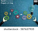hand business propel with cog...   Shutterstock .eps vector #587637935