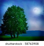 Night Moon And Tree
