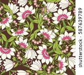 seamless floral vintage pattern ... | Shutterstock .eps vector #587639789