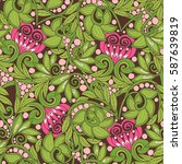 seamless floral vintage pattern ... | Shutterstock .eps vector #587639819