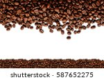 coffee beans. isolated on white ... | Shutterstock . vector #587652275