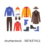 winter clothing man set fashion ... | Shutterstock . vector #587657411