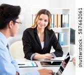 business people having meeting...   Shutterstock . vector #587662061