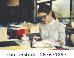 skilled professional female... | Shutterstock . vector #587671397
