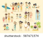 people on the beach. vector... | Shutterstock .eps vector #587671574