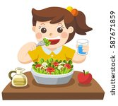 a little girl happy to eat... | Shutterstock .eps vector #587671859