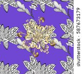 seamless vintage pattern on... | Shutterstock .eps vector #587673179