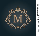 elegant floral monogram design...   Shutterstock .eps vector #587676521