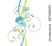 floral pattern with flower... | Shutterstock .eps vector #587680091