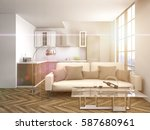 interior with sofa. 3d... | Shutterstock . vector #587680961