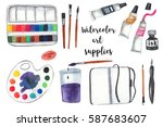 art supplies on white isolated... | Shutterstock . vector #587683607