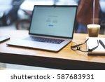 shoot of modern digital laptop... | Shutterstock . vector #587683931