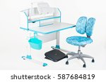 blue chair  school table  blue... | Shutterstock . vector #587684819